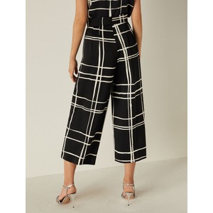 Marella Cacao Large Chck Wide Trouser Black/Off White