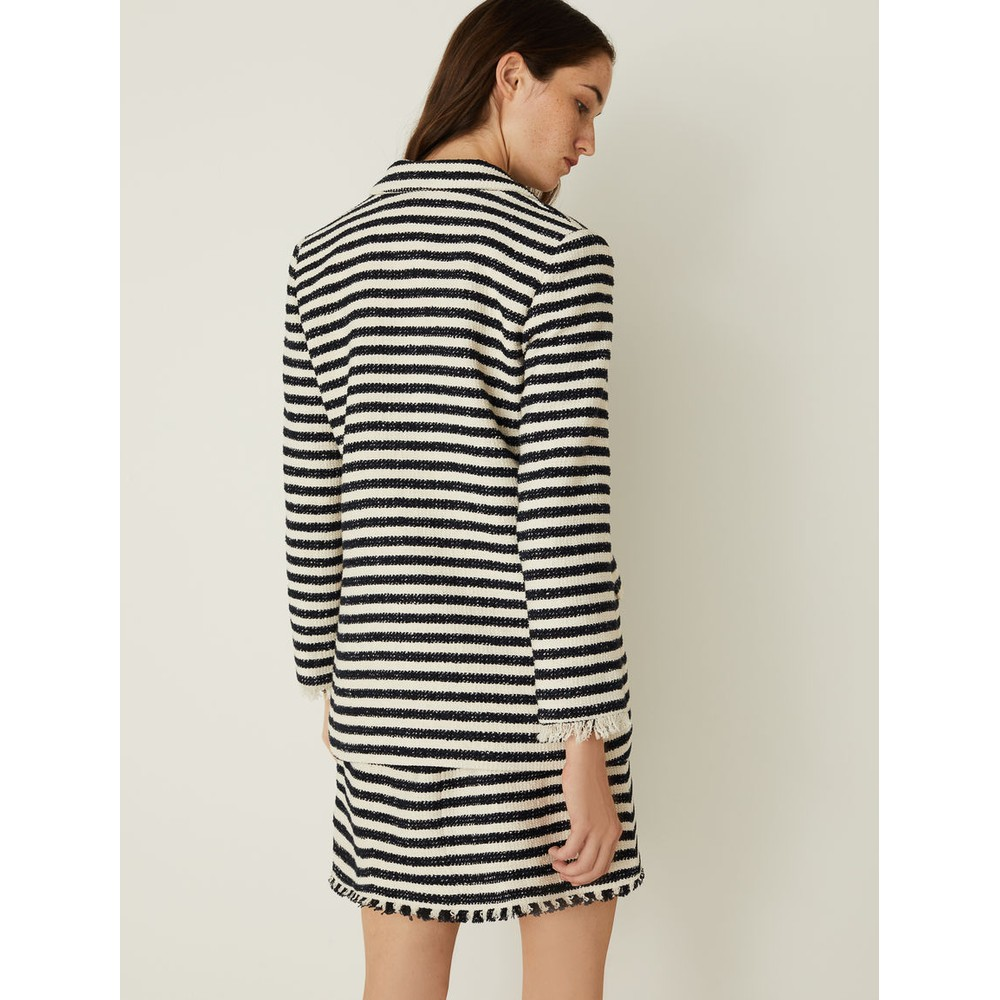 Marella Vicenza Fringed Stripe Jacket Navy/Off White
