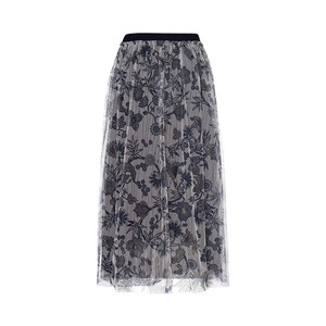 Riani Floral Sheer Strtch Wst Skirt Navy/Multi