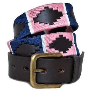 Pioneros Pink/Navy Stripe Belt Brown Leather Pink/Navy/White Stripe