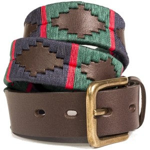 Navy/Green Stripe Belt Brown Leather Navy/Dark Green/Red