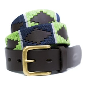 Lime/Navy Stripe Belt Brown Leather Lime/Navy/Grey Stripe