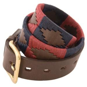 Pampas Cross Belt Brown Leather Burgundy/Navy