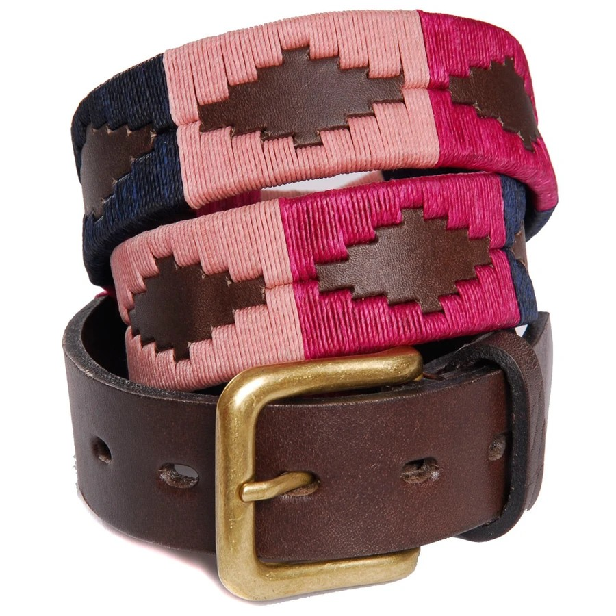 Pioneros Pampas Cross Belt Brown Leather Berry/Navy/Pink
