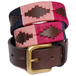 Pampas Cross Belt Brown Leather Berry/Navy/Pink