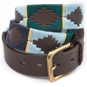 Stripe Cross Belt Brown Leather Green/Blue/Cream