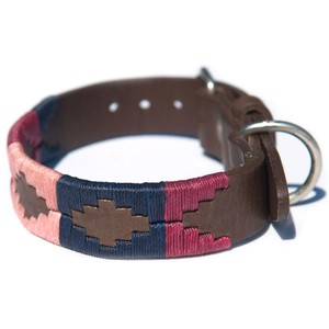 Pampas Cross Collar Brown Leather Berry/Navy/Pink