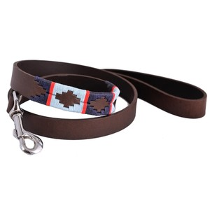 Stripe Cross Lead Brown Leather Navy/Pale Blue/Red