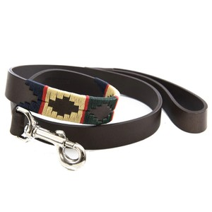 Red Stripe Lead Brown Leather Red