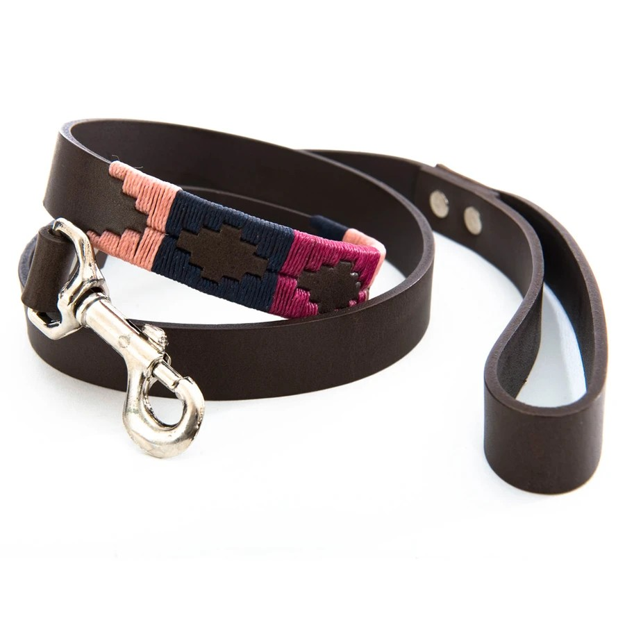 Pioneros Stripe Cross Lead Brown Leather Berry/Navy/Pink