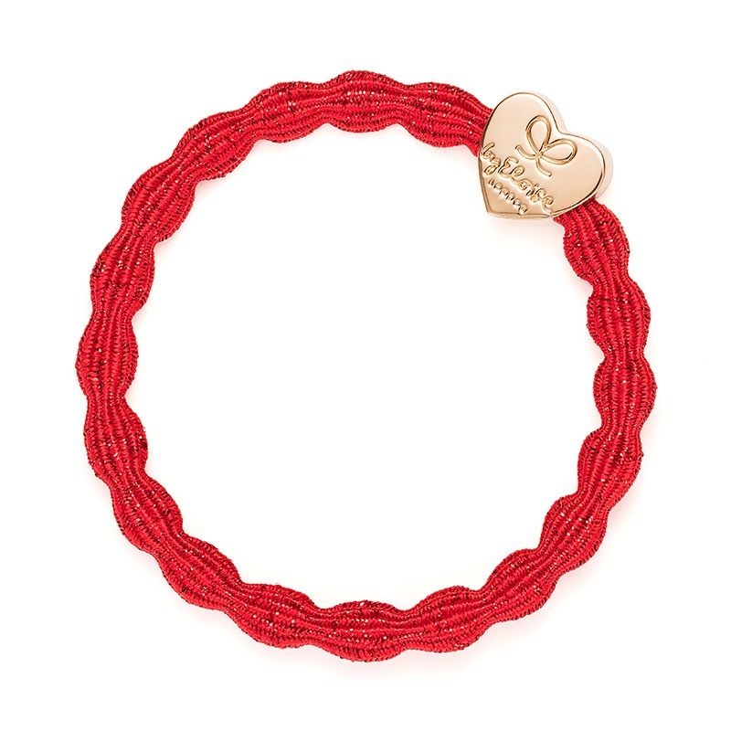 By Eloise Gold Heart Metallic Band Red