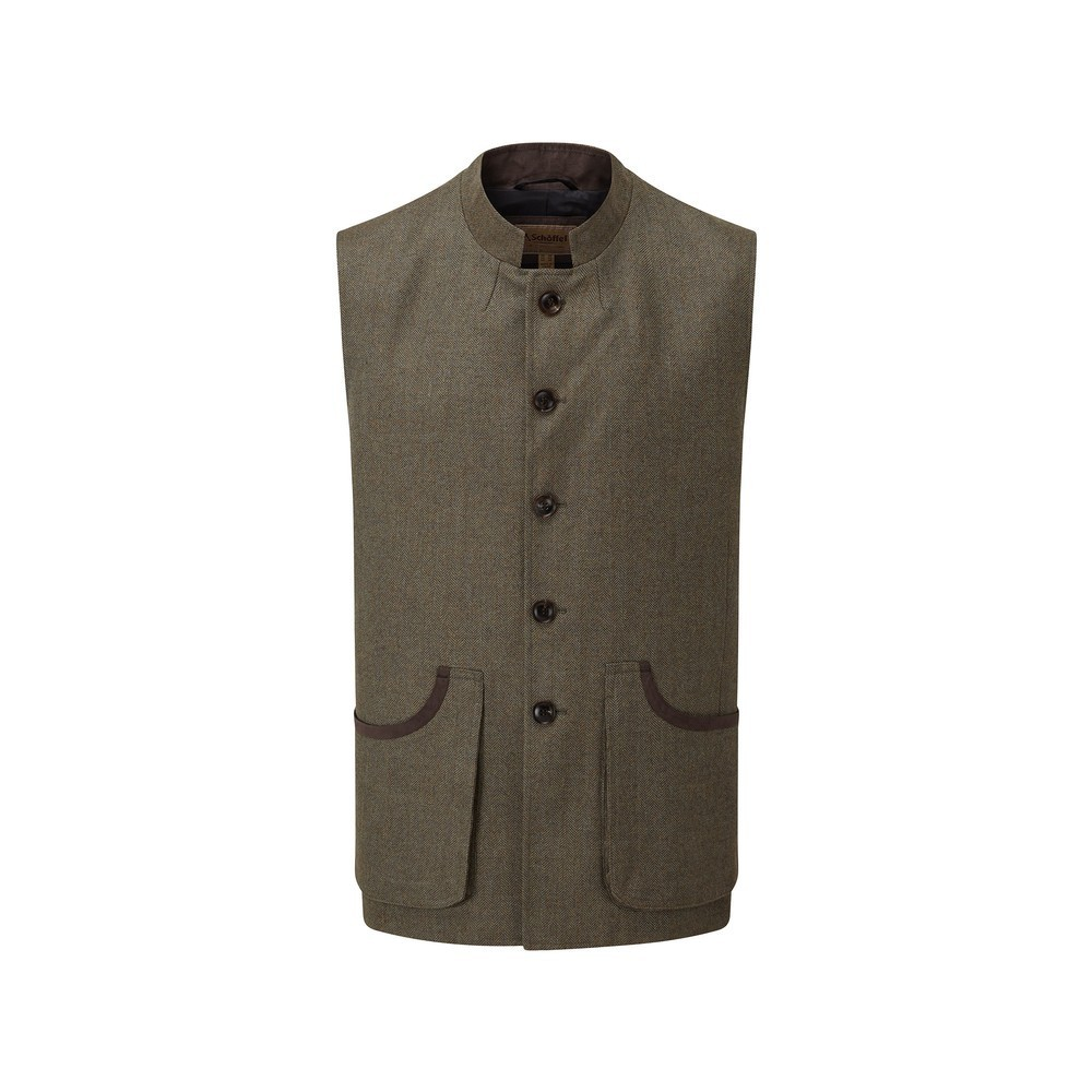 Schoffel Country Holcot Tweed Waistcoat Loden Green H/Bone Tweed