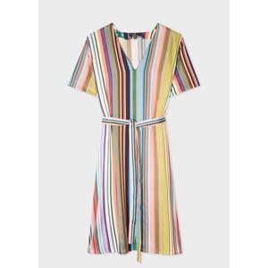 Multi Stripe V Nk Midi Dress Multicolour