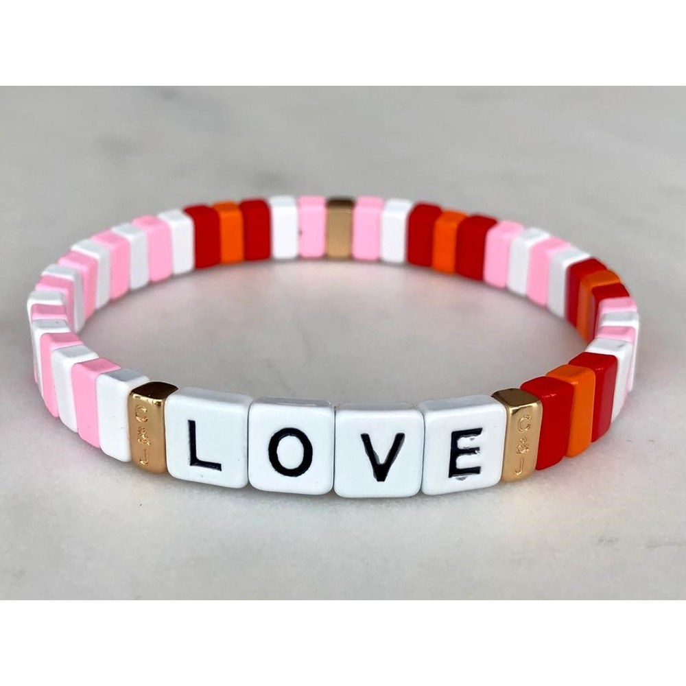 Coco & Jane Loves Pink Ripple Love Bracelet Pink/Multi