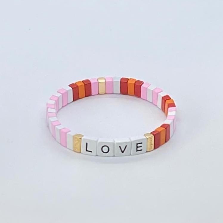 Coco & Jane Loves Pink Ripple Love Bracelet Pink/Multi