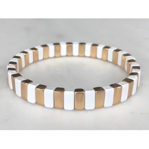 Gold & White Goals Bracelet Gold/White