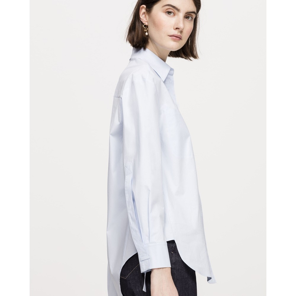 Luisa Cerano Hidden Button Pleat Bk Blouse Pale Blue