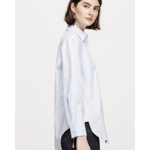 Hidden Button Pleat Bk Blouse Pale Blue