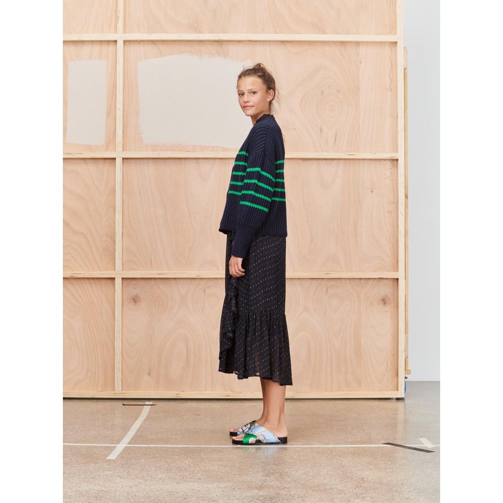 Munthe Tupper Stripe Chunky Cardi Indigo/Green