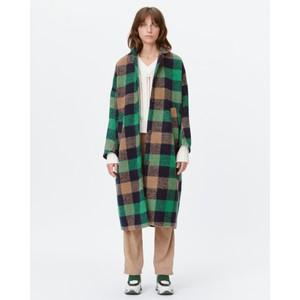 Talinum Check O/Size Coat Green/Indigo/Camel