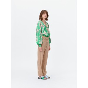 Munthe Tabuc Floral Silky Blouse Green/Camel