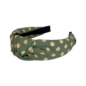 Black Colour Gaby Dot Headband in Mint