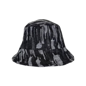Black Colour Roxanne Fringe Bucket Hat in Black