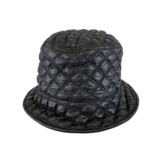 Black Colour Puffy Quilted Bucket Hat Black