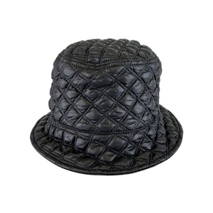 Puffy Quilted Bucket Hat Black