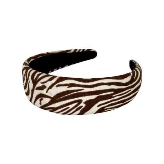 Black Colour Kine Zebra Headband Brown