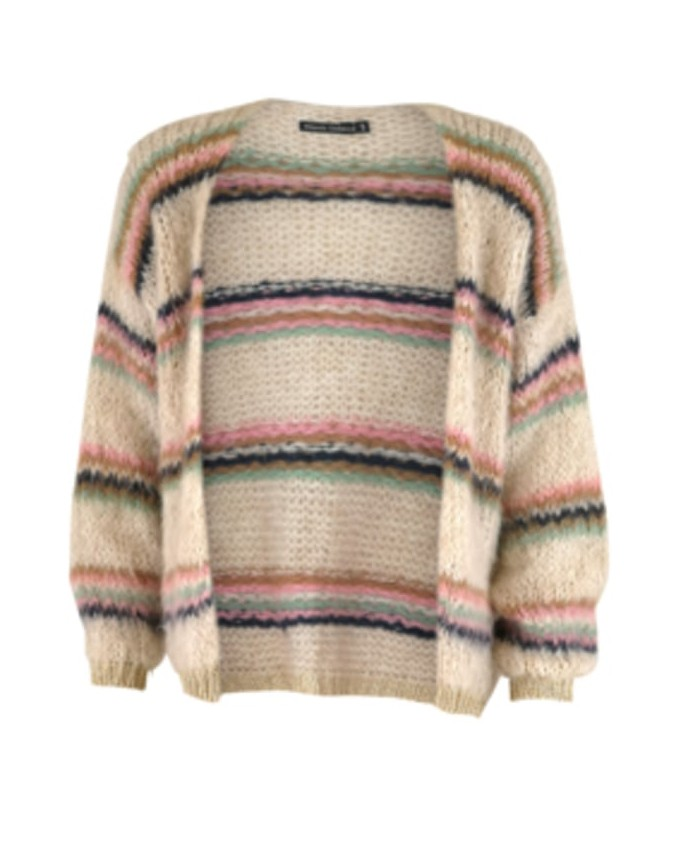 Black Colour Tanne Stripe Brushed Cardigan Cream/Multi