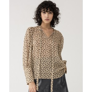Tie Neck Sheer Dot Blouse Caramel/Black