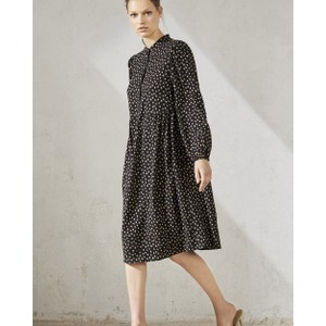 L/S Button Front Dot Dress Black/Caramel