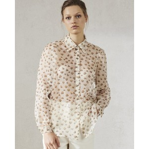 Heart Silk Organza Shirt Cream/Brown