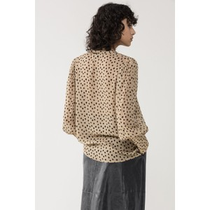 Luisa Cerano Tie Neck Sheer Dot Blouse Caramel/Black