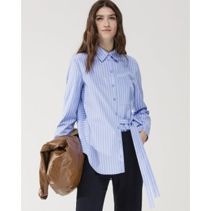 Tie Side Stripe Long Shirt Blue/White