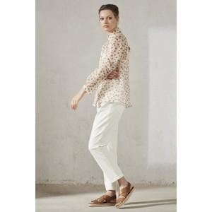 Luisa Cerano Heart Silk Organza Shirt Cream/Brown