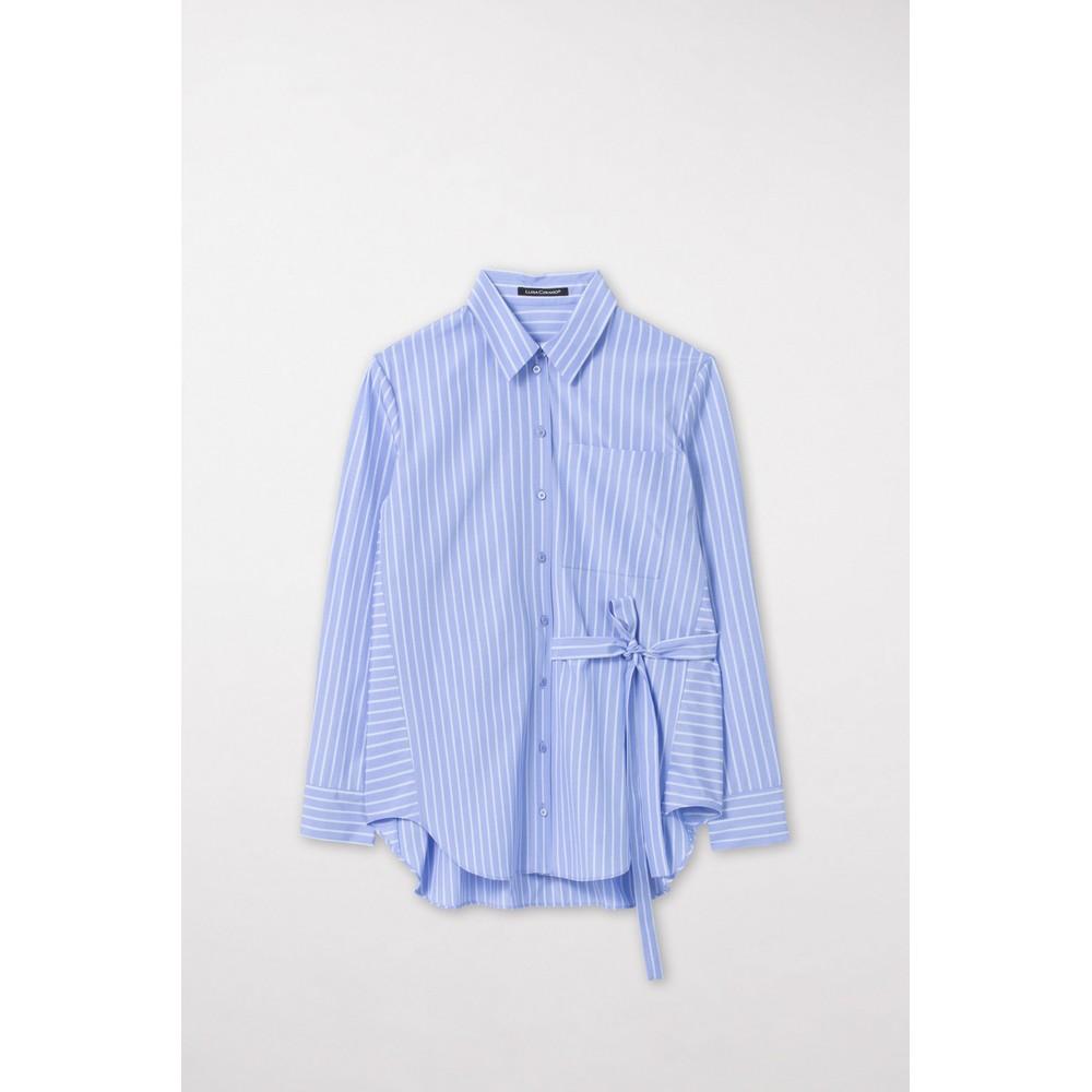 Luisa Cerano Tie Side Stripe Long Shirt Blue/White