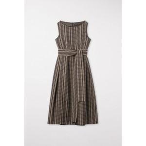 Luisa Cerano S/L Emb Flare Belted Dress Brown/Cream