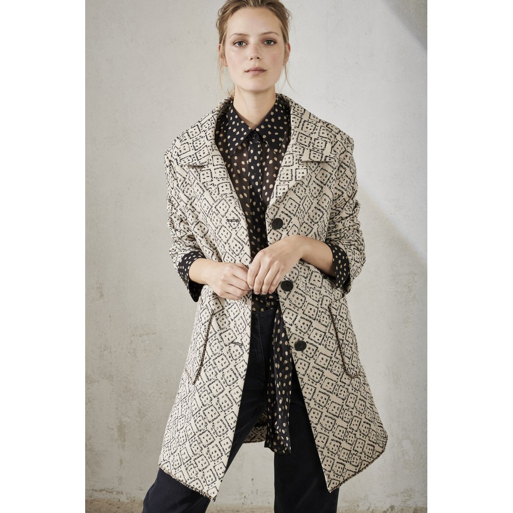 Luisa Cerano Fringed Hem 2 Pkt Coat Cream/Black