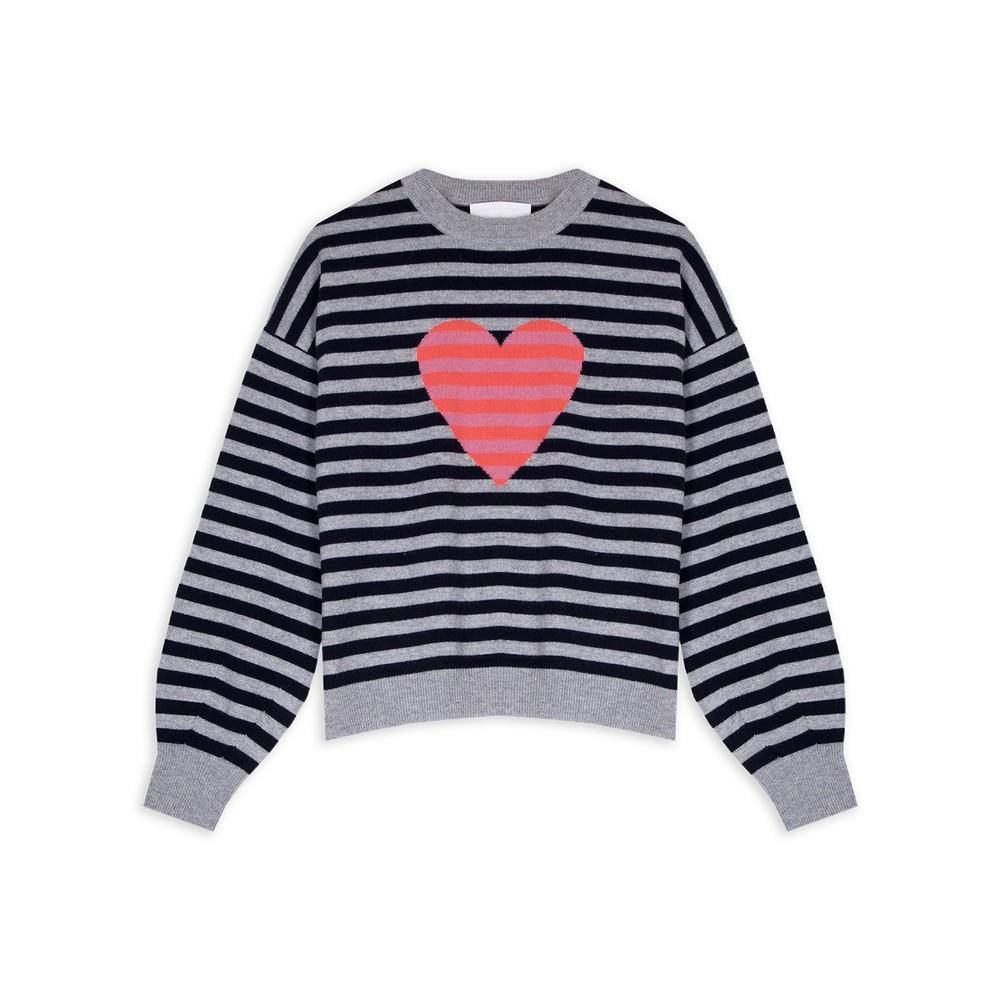Cocoa Cashmere Heart Striped Jumper Navy/Siren