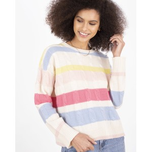 Hailey Stripe Cable Jumper Cream/Pastels