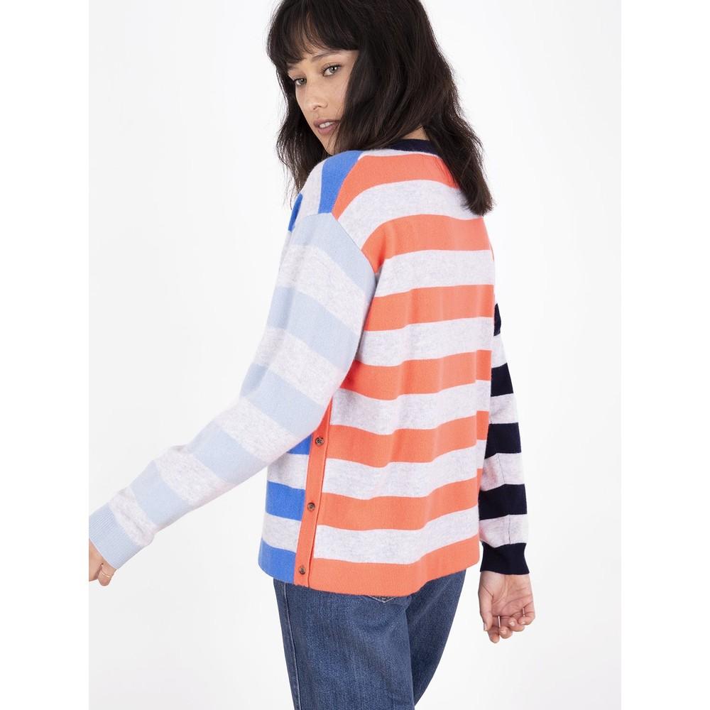 Cocoa Cashmere Bronwen Contrast Stripe Jumper Azure/Siren/Navy