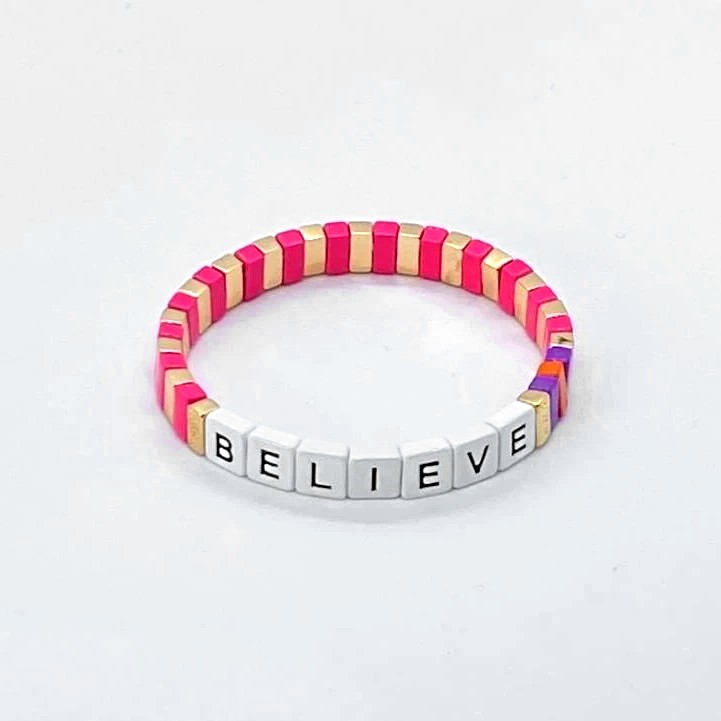 Coco & Jane Loves Charity Believe Bracelet White/Pink/Gold