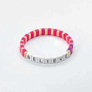 Charity Believe Bracelet White/Pink/Gold