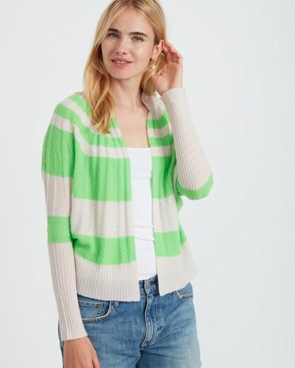 Jumper 1234 Stripe Cable Cardigan Neon Green/Plaster