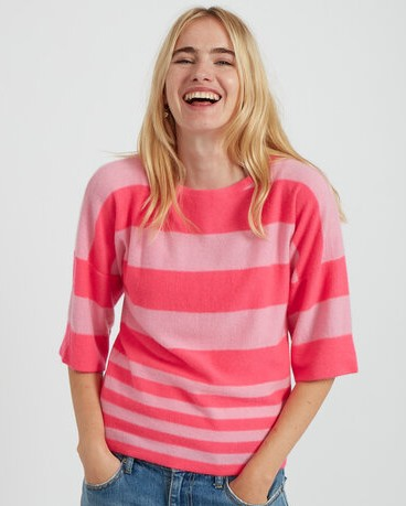 Jumper 1234 Boxy Stripe Mid Slv Knit Neon Pink/Flamingo