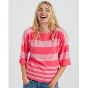 Boxy Stripe Mid Slv Knit Neon Pink/Flamingo