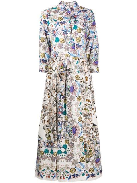 Sara Roka Elena Liberty Dress Anise Belt White/Multi