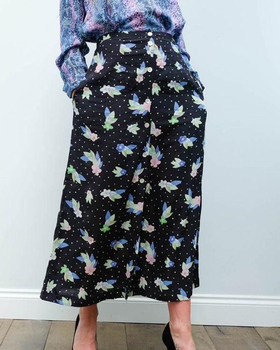 Primrose Park Angie Dotty Fleur Skirt Black/Multi